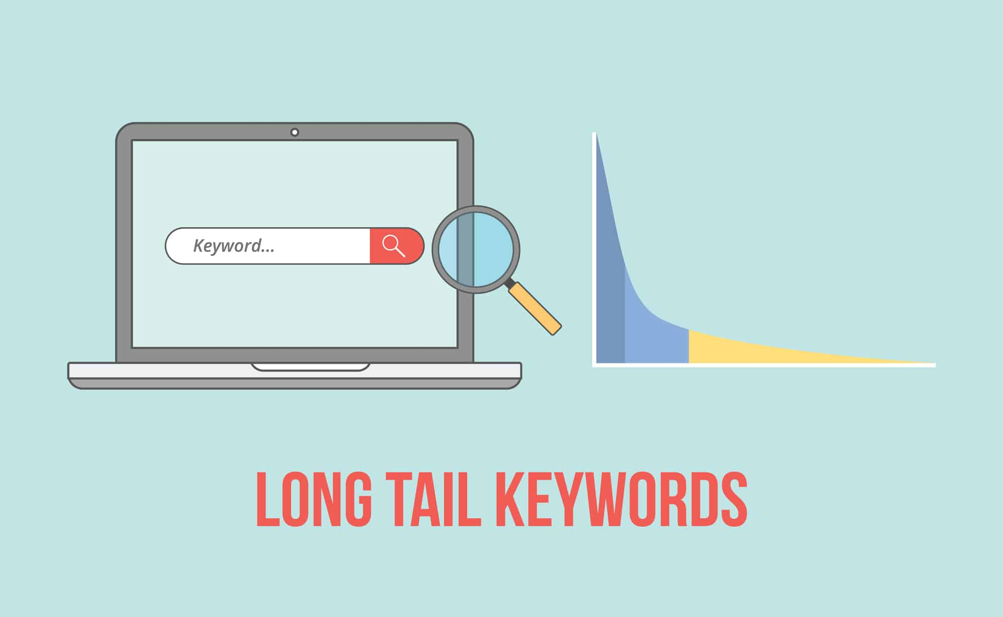Long Tail Keywords With Laptop And Graph Chart Illustration